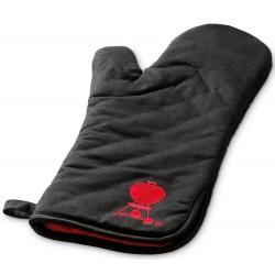 Grilovacie rukavice s červeným kotlovým grilom, čierna