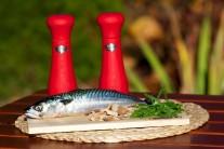 Pripravíme si čerstvú makrelu, soľ, korenie, bylinky a obľúbené údiace lupienky.