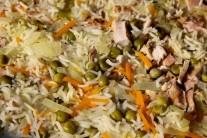 Pri podrobnejšom skúmaní je vidieť štruktúru rizota a rozmanitú farebnosť. Ryža nie je rozvarená, použili sme ryžu Basmati.