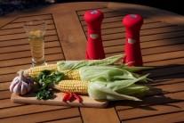 Pred začatím grilovania si pripravíme: kukuričné klasy, olej, jemne sekané oregano, soľ, čili papričky, cesnak, čierne korenie.