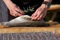 Do brušnej dutiny každej ryby vložíme vetvičku čerstvého rozmarínu, ktorá nám rybu krásne prevonia.
