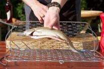 Pstruha vo vnútri aj mimo osolíme, okoreníme a potrieme olejom. Vložíme do držiaka na rybu Weber. Pred uzavretím držiaka položíme na rybu na kolieska nakrájaný citrón.