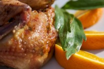 Na fotografii je vidieť detail grilovaného kurčaťa s pomarančom a ligurčekom.