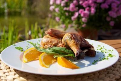 Grilované kurča s pomarančom a ligurčekom