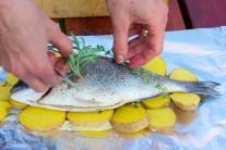 Na rozložené zemiaky položíme celú rybu. Na rybu položíme ešte trocha rozmarínu a tymianu. Bylinky pekne prevoňajú rybu aj zemiaky.